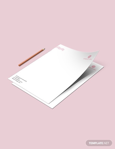 spa center letterhead layout