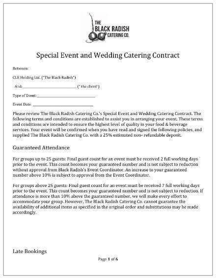 special event and wedding catering contract template 1