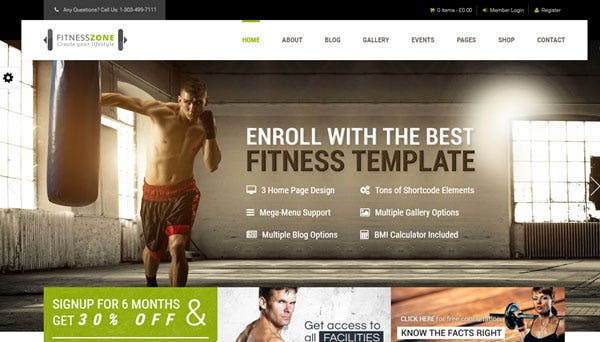 sports themes fitness zone