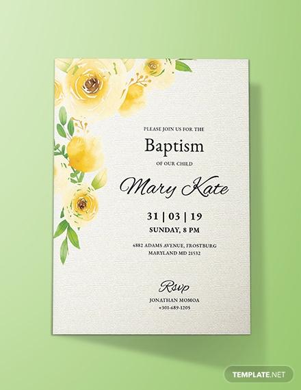 springtime baptism invitation card template 1