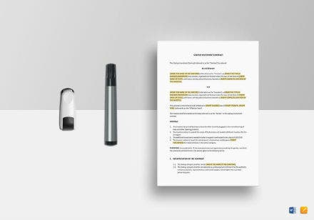 startup investment contract mockup