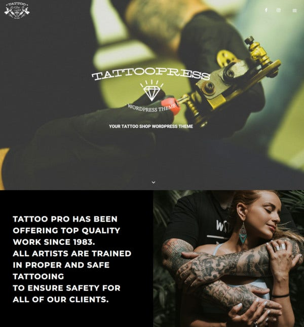 tattoopress wordpress theme for ink artists