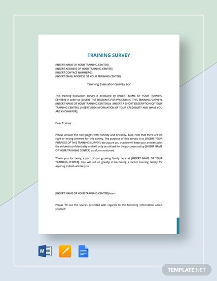 training survey template