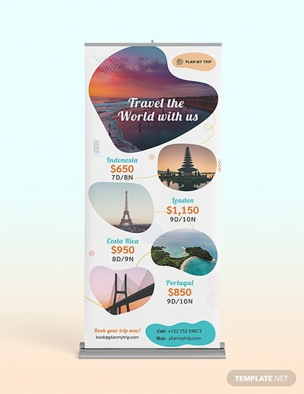travel agency roll up banner template