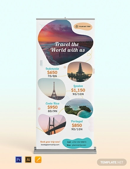 travel agency roll up banner template1