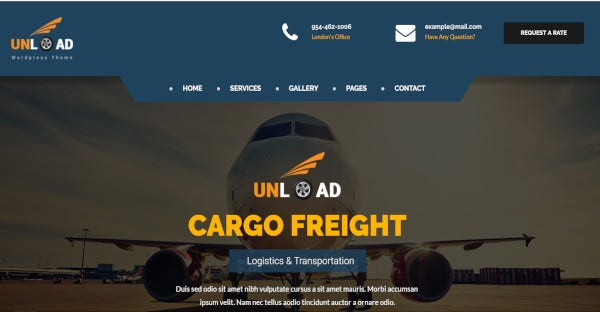 unload a responsive shipping wordpress template