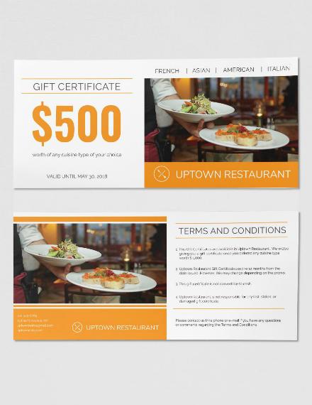 uptown restaurant gift certificate sample