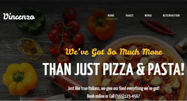 vincenzo delicious pizza restaurant responsive wordpress theme