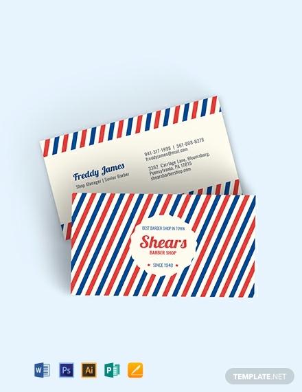 vintage barber business card design