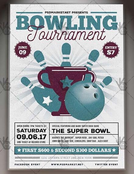 vintage bowling tournament flyer layout