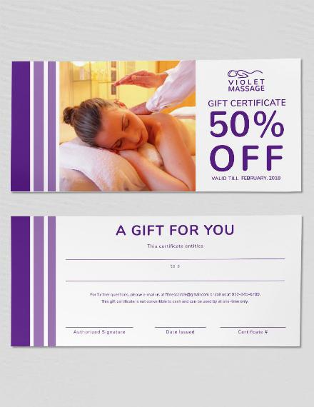 violet massage gift certificate template