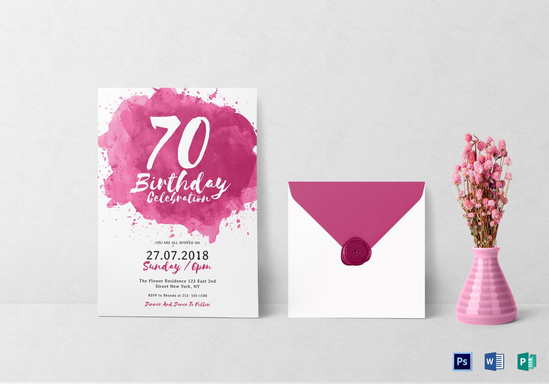 watercolor birthday celebration invitation layout