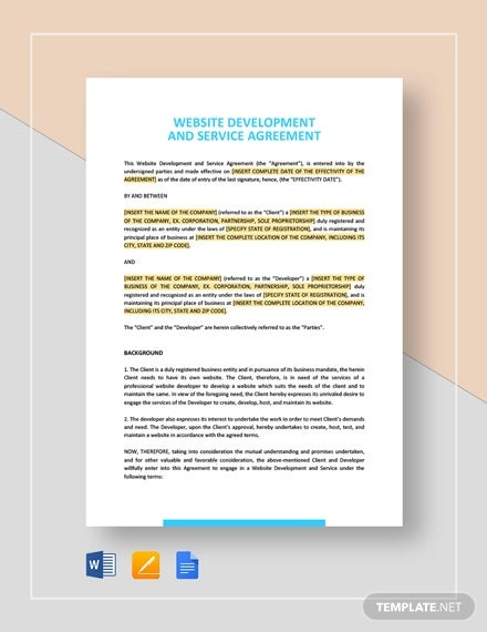 website development and service agreement template