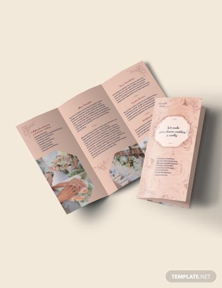 wedding event planner trifold brochure