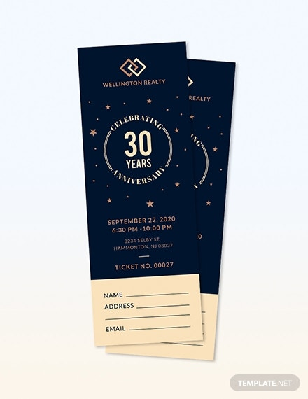 wellington realty anniversary ticket sample