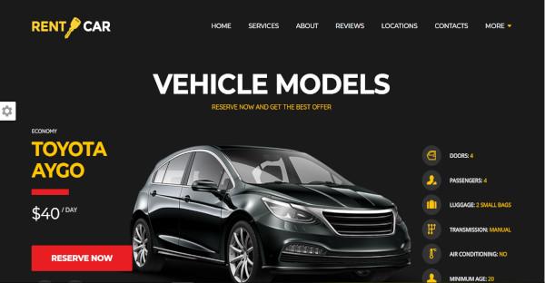 wheelsberry car rental wordpress theme page