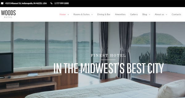 woods hotel – resort and hotel wordpress theme