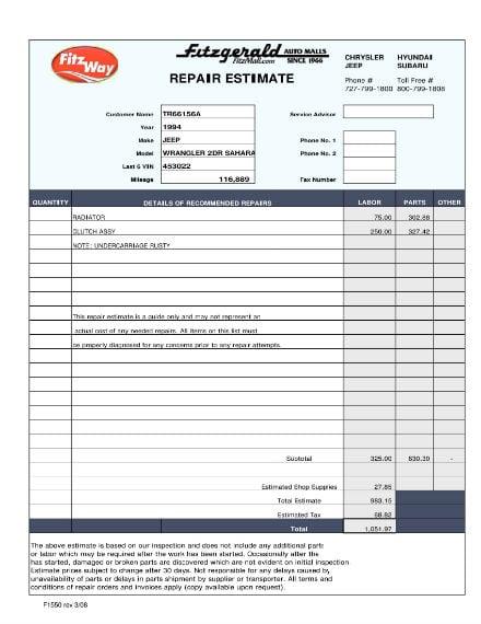 auto repair estimate sample 1