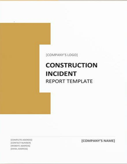 construction incident report template mockup