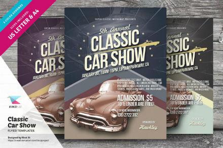 creative market classic car show flyer