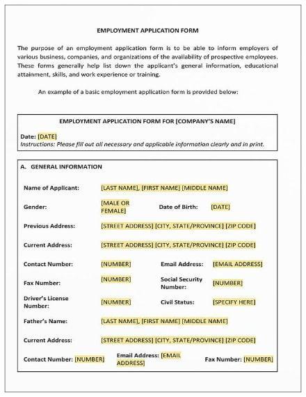 employment application form2