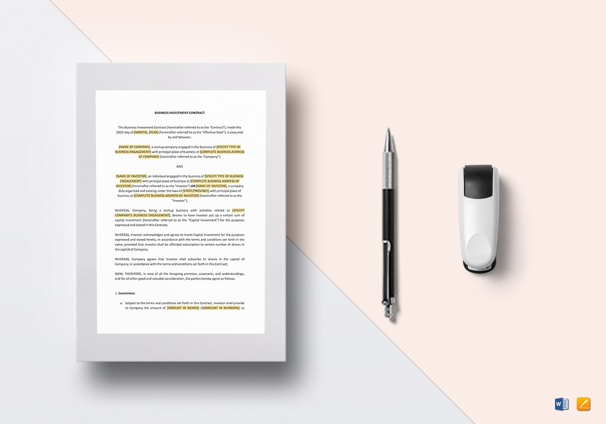 investment contract template mockup