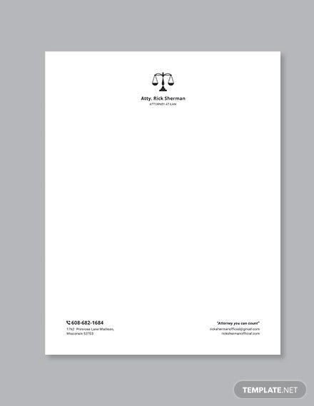 lawyer letterhead template