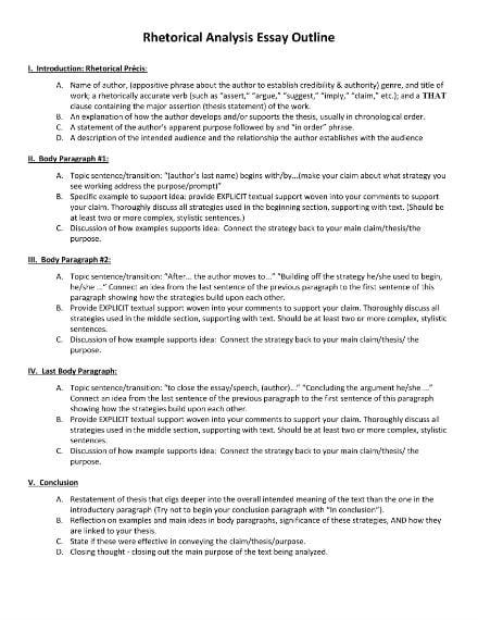 rhetorical analysis essay outline 1