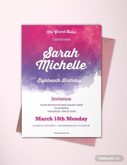 watercolor debut invitation template