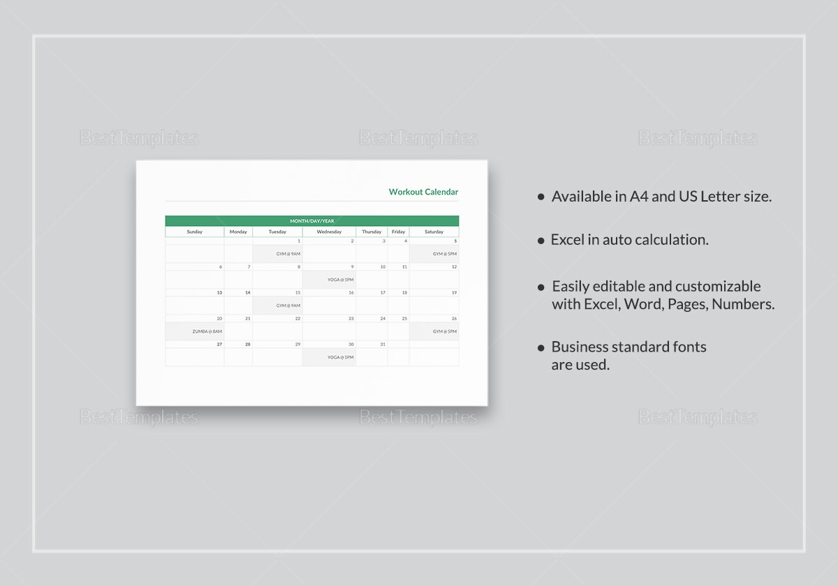 workout calendar template qg