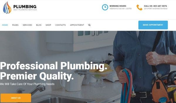 Plumbing - Free Fonts and Icons WordPress Theme