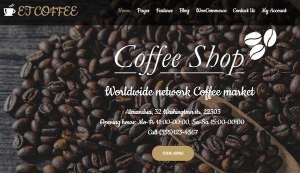 ET Coffee -Mega Menu Generator Incorporated WordPress Theme