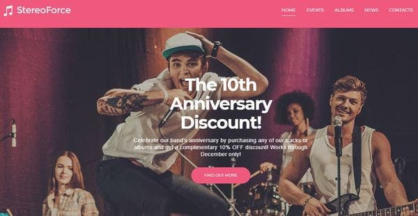 Music Band- Mailchimp Enabled WordPress Theme