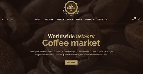 Mister Coffee - Drag And Drop Page Builder WordPress Theme