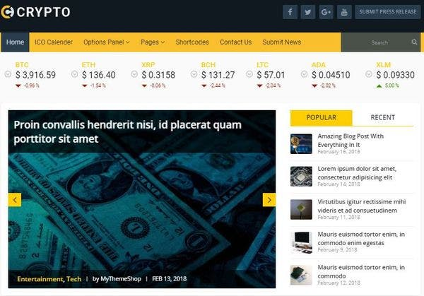 Crypto – Cryptocurrency Based WordPress Theme