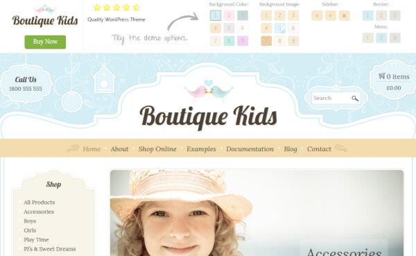 Boutique Kids – Adjustable Sidebar WordPress Theme