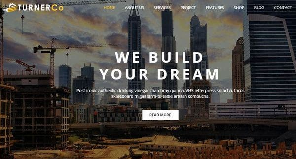 Turner – One Page Scroll WordPress Theme