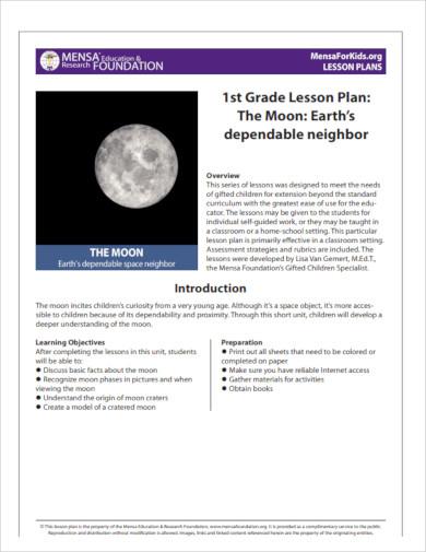 1st grade lesson plan sample