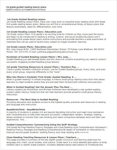 1st grade reading lesson plan