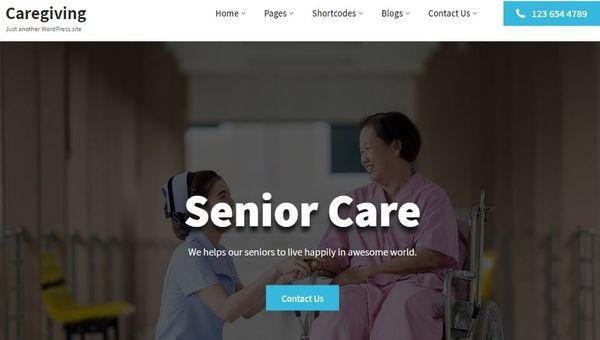 Caregiving – Social media Integrated WordPress Theme