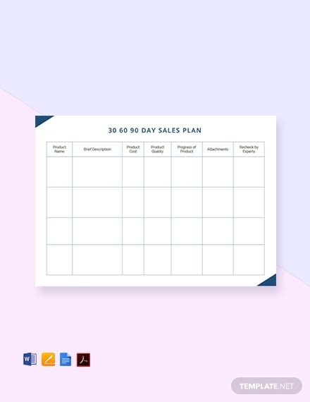 30 60 90 day sales plan template 32