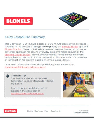 5 day lesson plan summary