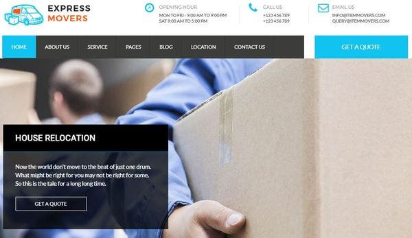 Express Movers – Bootstrap 3 Integrated WP Theme