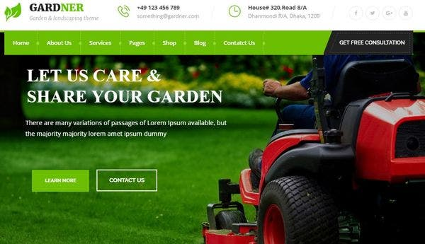 Gardener – Retina ready WordPress Theme