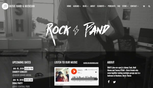 Music Band And Musician – Drag and Drop WordPress Theme