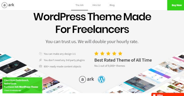 ark wordpress theme for a freelancer