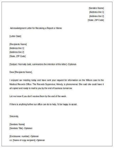 acknowledgment letter for receiving a report free download min1