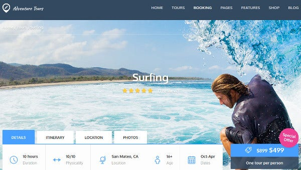 adventure tours payment integrated wordpress theme
