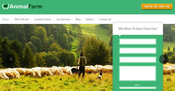 animal farm – custom wordpress theme