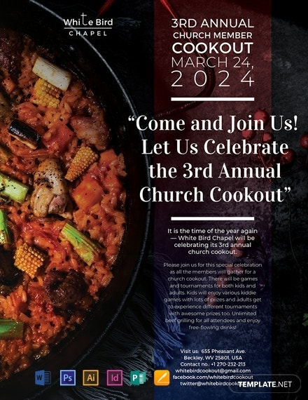 annual church cookout flyer example